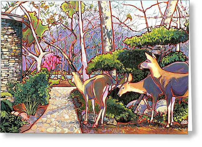 Nadi Spencer Paintings Greeting Cards - Deer in Baer Garden Greeting Card by Nadi Spencer