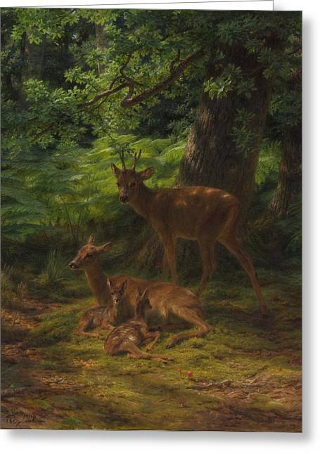 1867 Greeting Cards - Deer in Repose Greeting Card by Rosa Bonheur