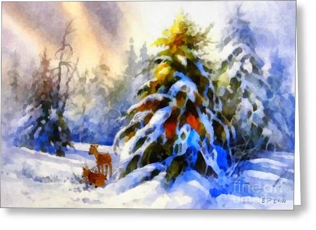 Deer In The Snowy Woods Greeting Card by Elizabeth Coats