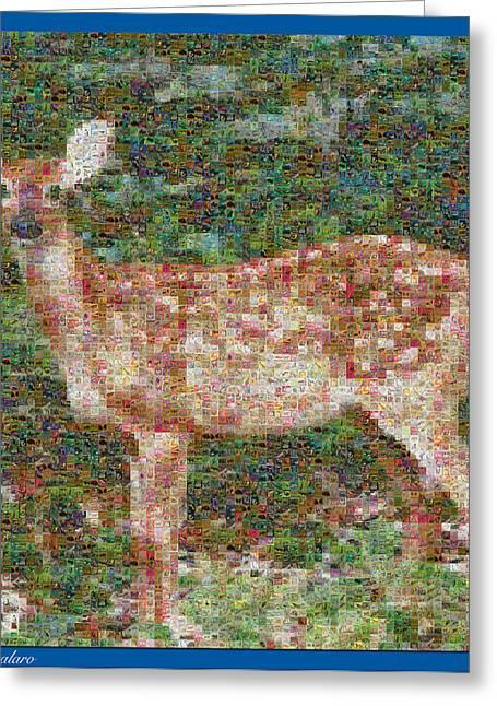 Fawn Mixed Media Greeting Cards - Deer Mosaic Greeting Card by Debra     Vatalaro