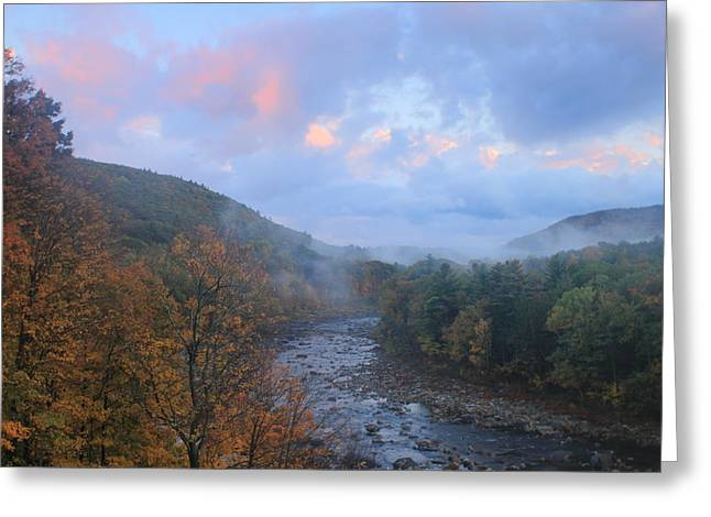 Shelburne Greeting Cards - Deerfield River Mohawk Trail Autumn Evening Greeting Card by John Burk