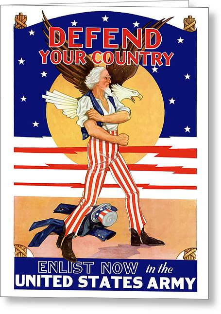 Uncle Sam Greeting Cards - Defend Your Country Enlist Now  Greeting Card by War Is Hell Store