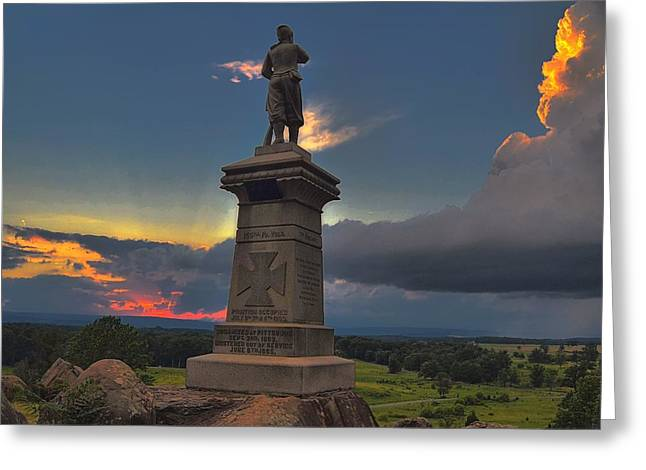 155 Greeting Cards - Defending Little round top on the Gettysburg National Battlefield. Greeting Card by Dave Sandt