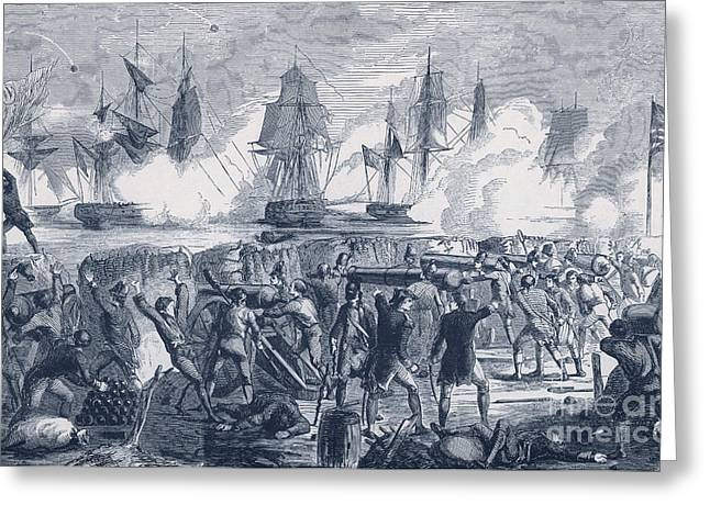 Warship Drawings Greeting Cards - Defense Of Fort Moultrie, 1776 Greeting Card by Photo Researchers