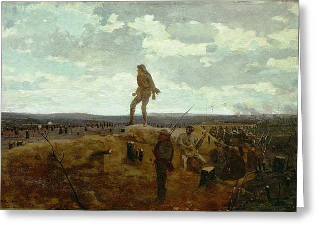 Trenches Paintings Greeting Cards - Defiance - Inviting a Shot Before Petersburg Greeting Card by Winslow Homer