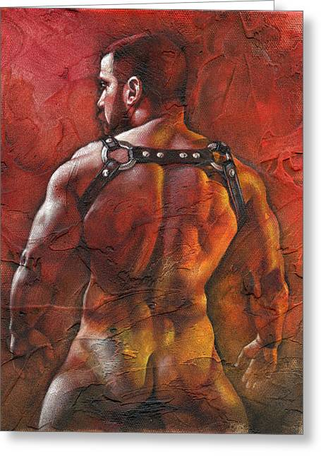 Men Mixed Media Greeting Cards - Defiant Greeting Card by Chris  Lopez