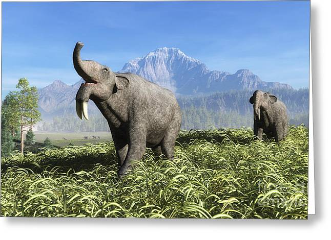 Life On Earth Greeting Cards - Deinotherium Traverse The Rolling Greeting Card by Walter Myers