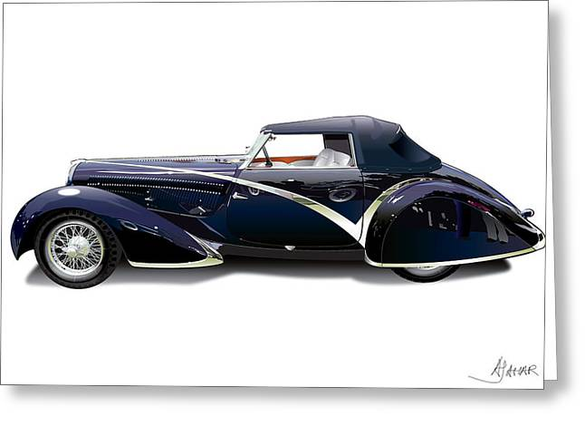 Southern Cal Auto Show Greeting Cards - Delahaye On White Greeting Card by Alain Jamar