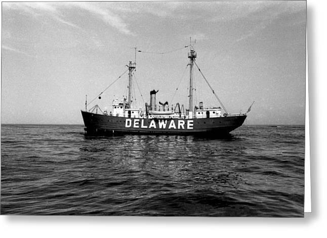 Aid To Navigation Greeting Cards - Delaware Lightship Atlantic Ocean Vintage 1968 Greeting Card by Wayne Higgs