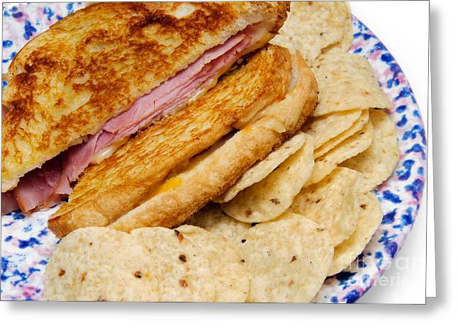 Wholewheat Greeting Cards - Deli Ham and Cheese With Chips 2 Greeting Card by Andee Design