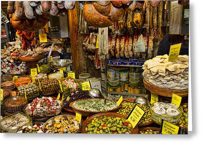 Market Photographs Greeting Cards - Deli in the Olivar Market in Palma Mallorca Spain Greeting Card by David Smith