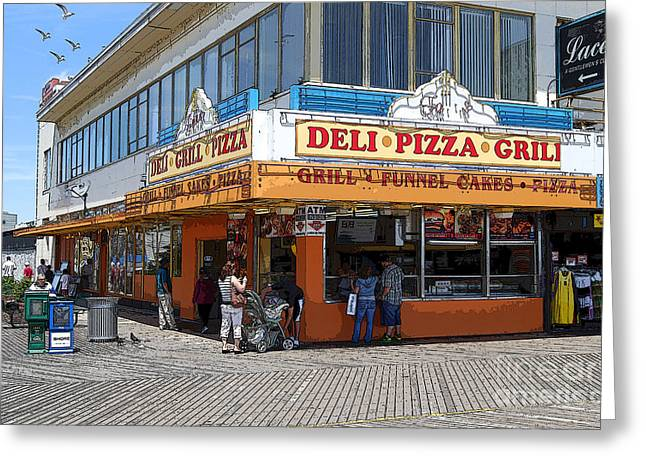 Deli Greeting Cards - Deli Pizza Grill Funnel Cakes Greeting Card by Guy Harnett