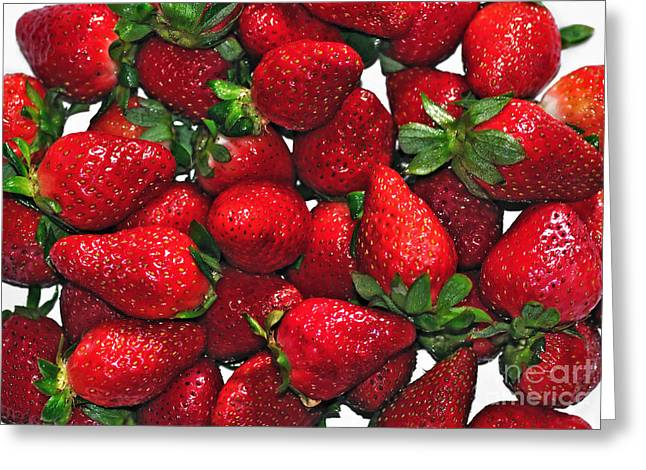 Strawberry Art Greeting Cards - Deliciously Sweet Strawberries Greeting Card by Kaye Menner
