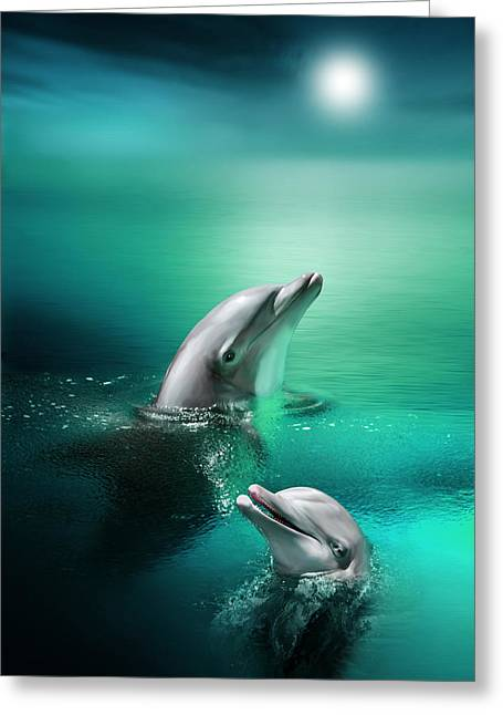 Ocean Mammals Digital Art Greeting Cards - Delightful Dolphins Greeting Card by Julie L Hoddinott