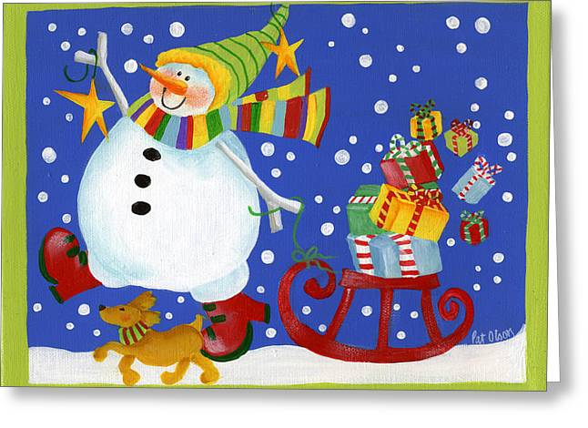 Delivering The Gifts Greeting Card by Pat Olson