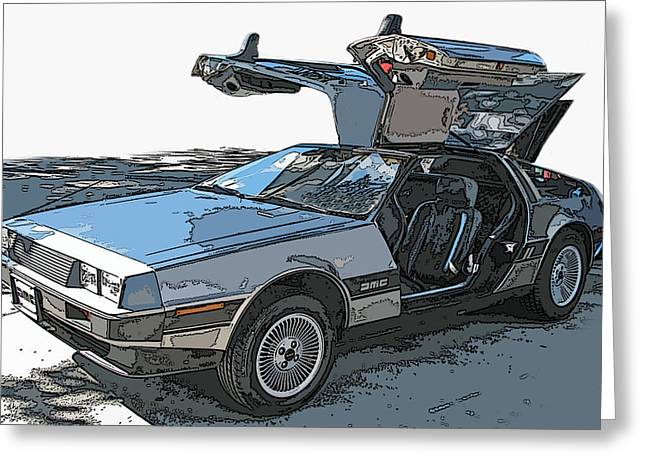Sheats Greeting Cards - DeLorean DMC-12 Greeting Card by Samuel Sheats