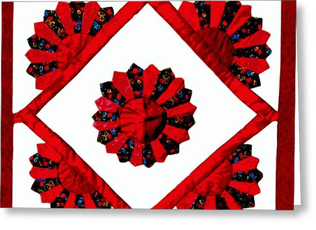 Red And White Quilt Greeting Cards - Delores Greeting Card by Patricia Erwin