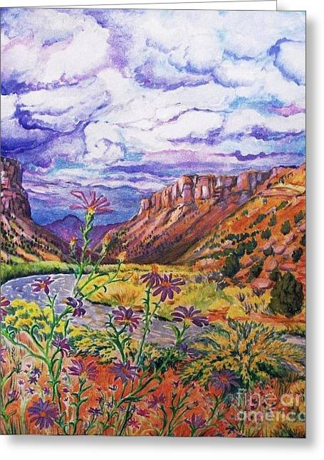 Loom Digital Art Greeting Cards - Delorus River and Pending Storm Clouds Greeting Card by Annie Gibbons