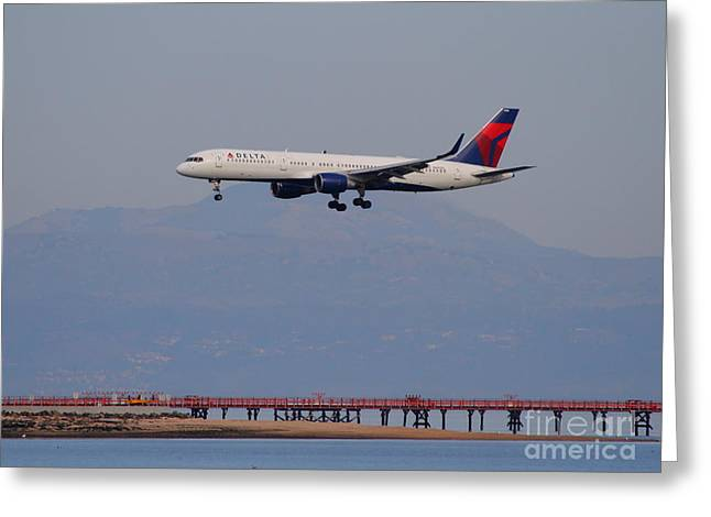 Airplane Landing Greeting Cards - Delta Airlines Jet Airplane At San Francisco International Airport SFO . 7D12182 Greeting Card by Wingsdomain Art and Photography