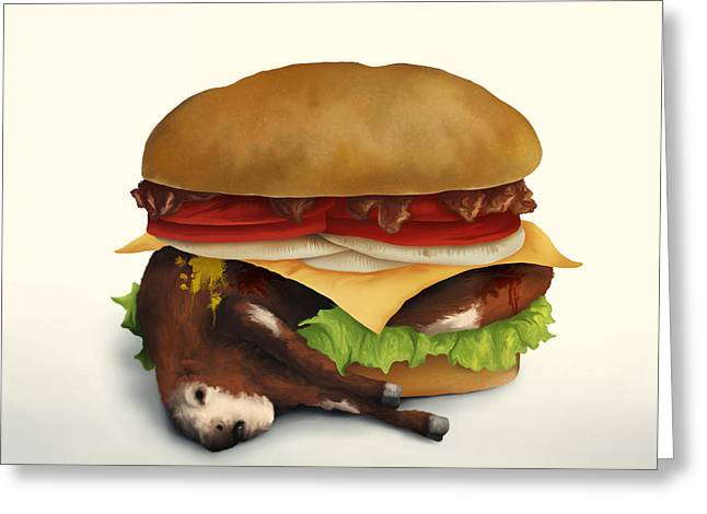 Cheeseburger Digital Greeting Cards - Deluxe Double Cheeseburger With Bacon Greeting Card by Aaron Rutten