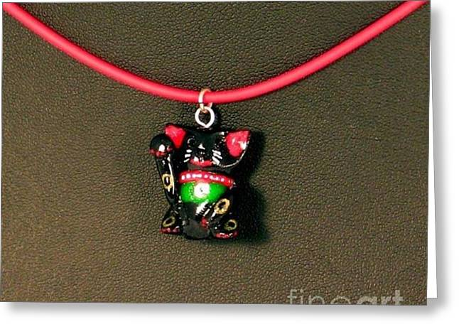 Kitty Jewelry Greeting Cards - Deluxe Hand Painted Black Maneki Neko Lucky Beckoning Cat Necklace Greeting Card by Pet Serrano