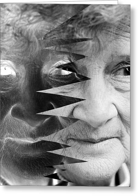 Elderly Female Greeting Cards - Dementia, Conceptual Image Greeting Card by Victor De Schwanberg