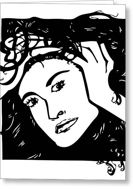 Headshot Drawings Greeting Cards - Demi Greeting Card by Jeff Stein