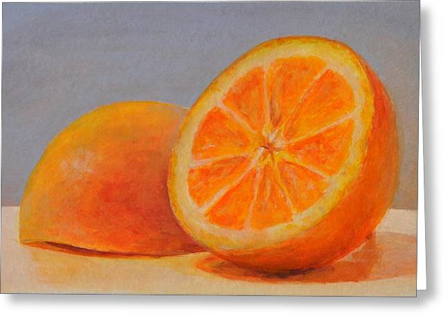 Orange Tapestries - Textiles Greeting Cards - Demi Oranges Greeting Card by Muriel Dolemieux