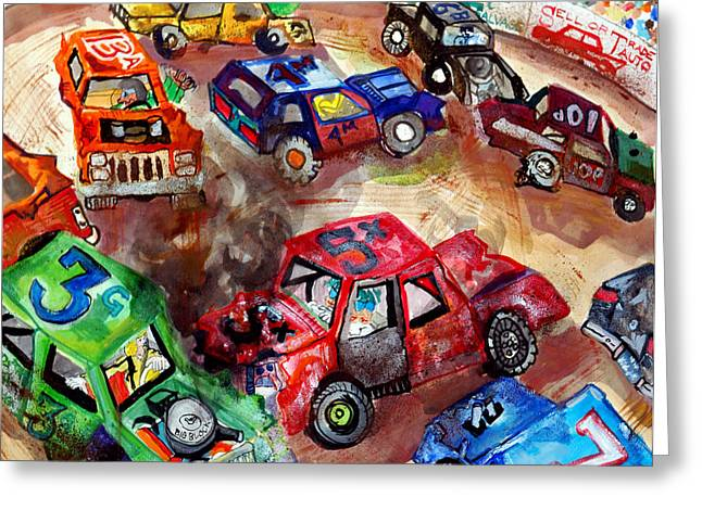 Demolition Derby Greeting Cards - Demo Derby One Greeting Card by Jame Hayes