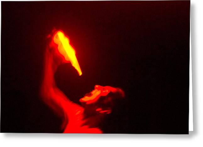 Demon Drinking Molten Lead Greeting Card by Douglas Barnett