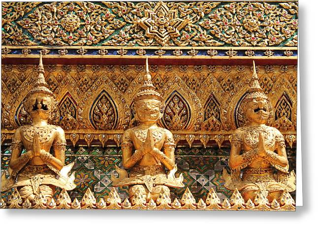 Traditional Art Sculptures Greeting Cards - Demon Guardian Statues at Wat Phra Kaew Greeting Card by Panyanon Hankhampa