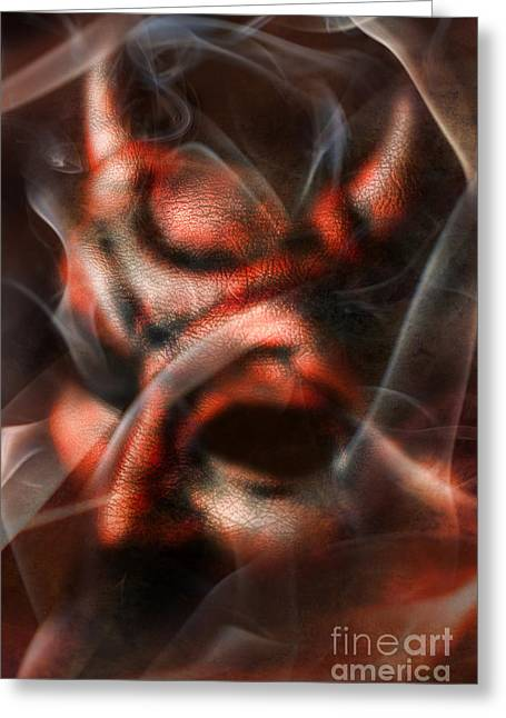Hiding Greeting Cards - Demon Greeting Card by HD Connelly