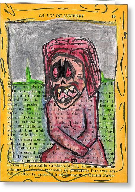 Macbre Greeting Cards - Demon Mona Lisa Greeting Card by Jera Sky