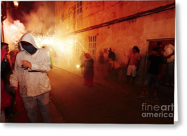 Fuegos Artificiales Greeting Cards - Demons in the street Greeting Card by Agusti Pardo Rossello