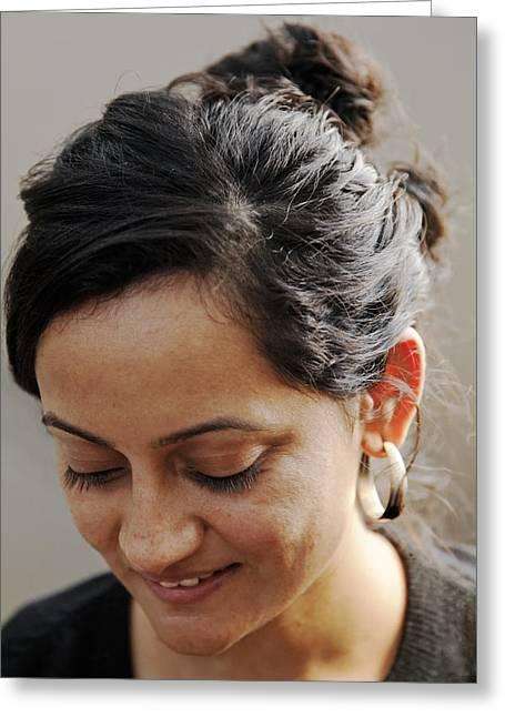 Olive Skin Greeting Cards - Demure Smile Greeting Card by Kantilal Patel