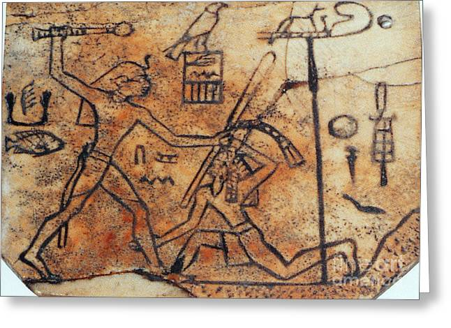 Pharaoh Greeting Cards - Den Striking Down Asiatic Tribesman Greeting Card by Photo Researchers