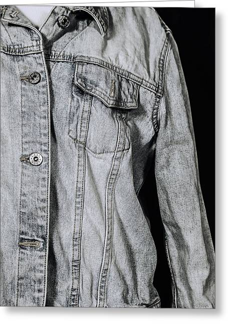 Outfit Greeting Cards - Denim Jacket Greeting Card by Joana Kruse