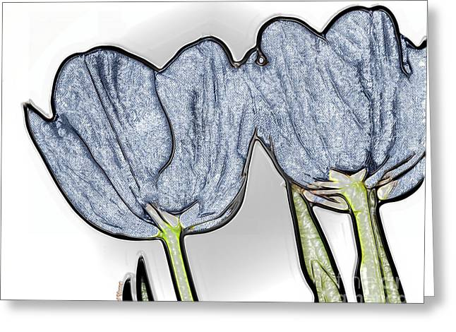 Levis Greeting Cards - Denim Tulips Greeting Card by Cheryl Young