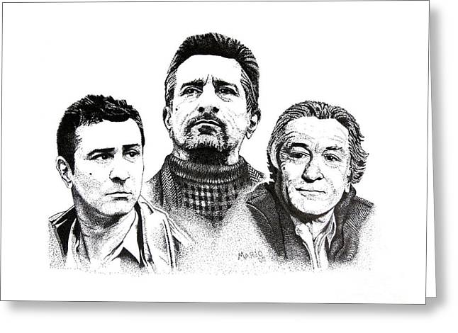 Pen And Paper Drawings Greeting Cards - Robert De Niro Pen and Ink Drawing in Black and White Greeting Card by Mario  Perez