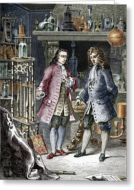 Discussing Photographs Greeting Cards - Denis Papin And Robert Boyle, Engraving Greeting Card by Sheila Terry