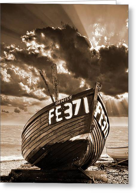 Wooden Boat Greeting Cards - Denise Greeting Card by Meirion Matthias