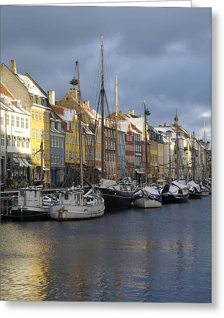 Sailboats In Water Greeting Cards - Denmark, Copenhagen, Nyhavn, Boats Greeting Card by Keenpress