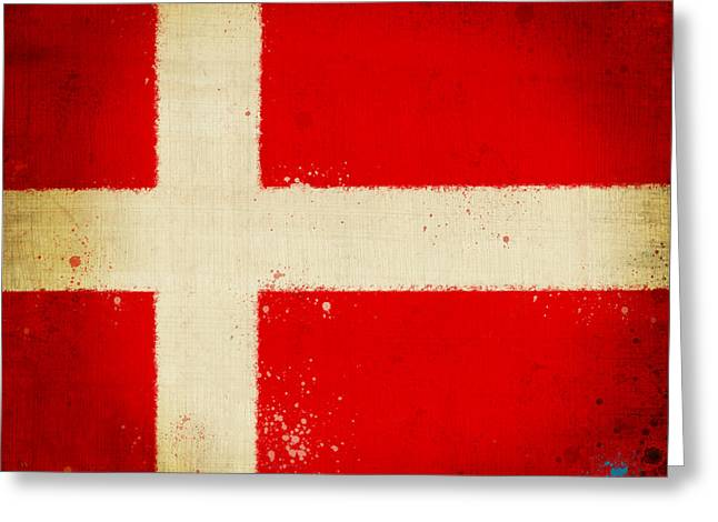 Dirty Digital Art Greeting Cards - Denmark flag Greeting Card by Setsiri Silapasuwanchai