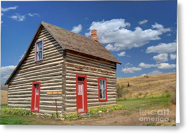 Log Cabins Greeting Cards - Denmark Jensen Cabin - Chesterfield Ghost Town - Idaho  Greeting Card by Gary Whitton