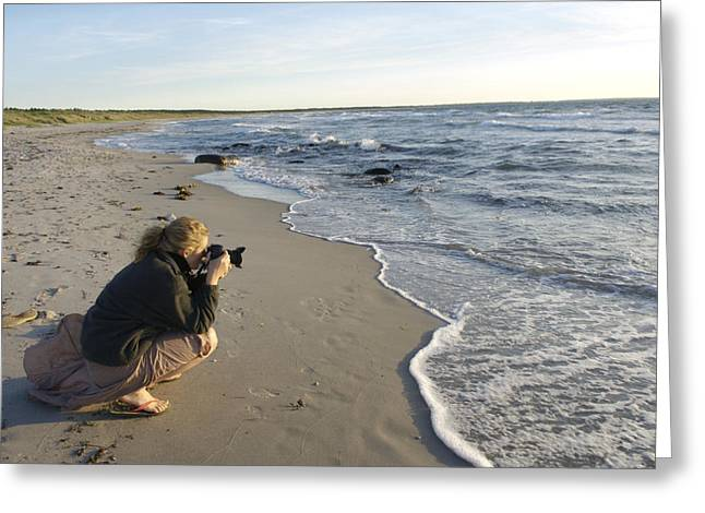25-30 Years Greeting Cards - Denmark Young Woman Taking Pictures Greeting Card by Keenpress