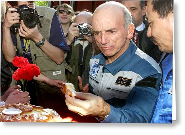 Surname T Greeting Cards - Dennis Tito, First Space Tourist Greeting Card by Ria Novosti
