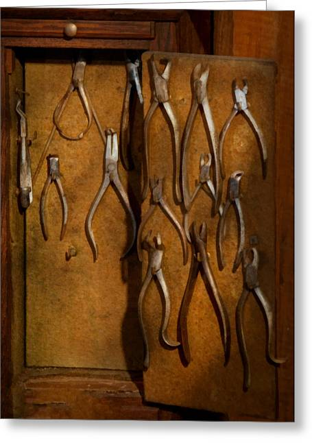 Tooth Puller Greeting Cards - Dentist - Methods of extraction  Greeting Card by Mike Savad