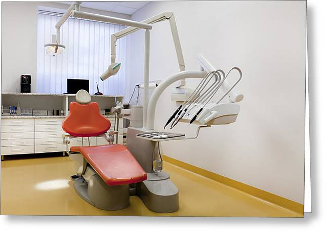 Healthcare-and-medicine Greeting Cards - Dentists Surgery. Dental Treatment Greeting Card by Jaak Nilson