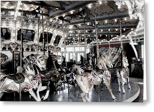 Amusements Pyrography Greeting Cards - Dentzel Menagerie Carousel - Glen Echo Park Maryland Greeting Card by Fareeha Khawaja