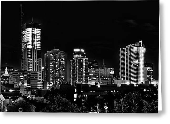 City Buildings Greeting Cards - Denver at Night in Black and White Greeting Card by Kevin Munro